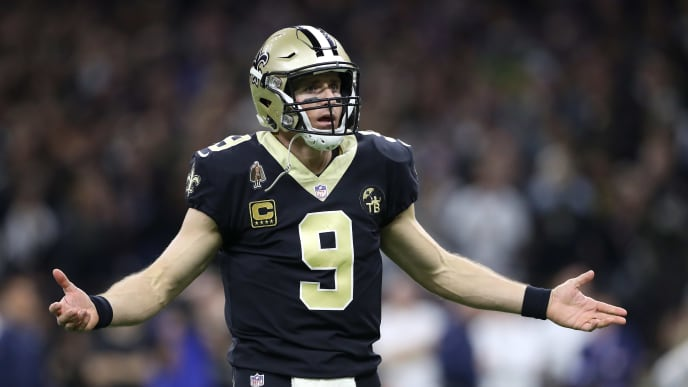 NEW ORLEANS, LOUISIANA - JANUARY 20: Drew Brees #9 of the New Orleans Saints reacts against the Los Angeles Rams during the fourth quarter in the NFC Championship game at the Mercedes-Benz Superdome on January 20, 2019 in New Orleans, Louisiana. (Photo by Streeter Lecka/Getty Images)