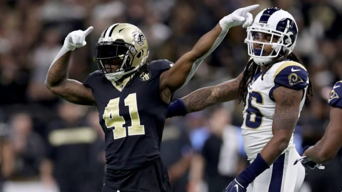 NEW ORLEANS, LOUISIANA - JANUARY 20: Alvin Kamara #41 of the New Orleans Saints celebrates a play against the Los Angeles Rams during the first quarter in the NFC Championship game at the Mercedes-Benz Superdome on January 20, 2019 in New Orleans, Louisiana. (Photo by Chris Graythen/Getty Images)