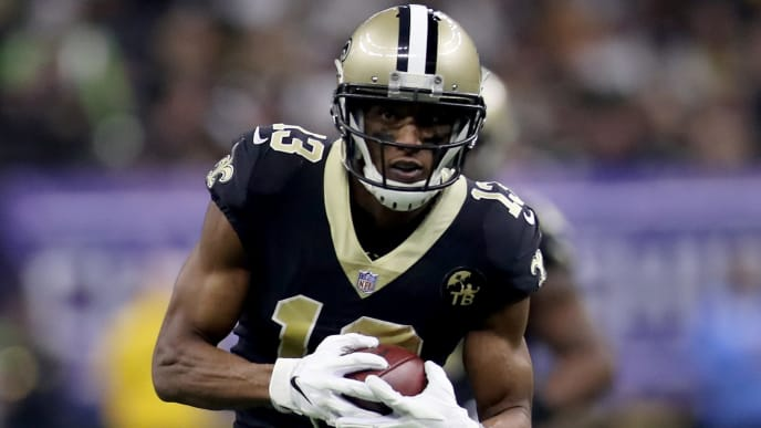 NEW ORLEANS, LOUISIANA - JANUARY 20: Michael Thomas #13 of the New Orleans Saints runs the ball against the Los Angeles Rams during the first quarter in the NFC Championship game at the Mercedes-Benz Superdome on January 20, 2019 in New Orleans, Louisiana. (Photo by Chris Graythen/Getty Images)