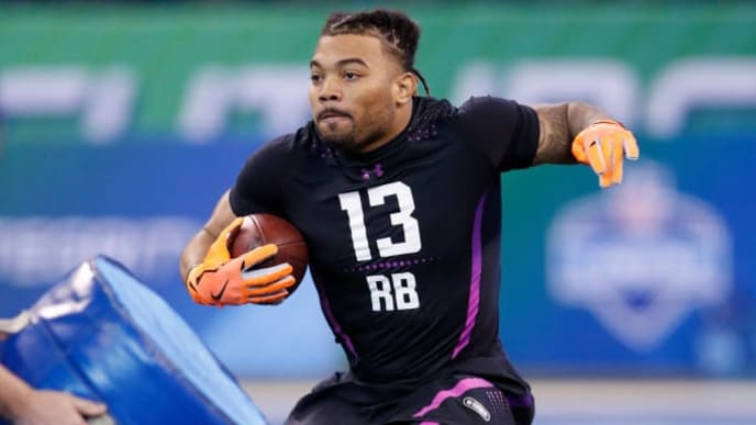 INDIANAPOLIS, IN - MARCH 02: LSU running back Derrius Guice in action during the 2018 NFL Combine at Lucas Oil Stadium on March 2, 2018 in Indianapolis, Indiana. (Photo by Joe Robbins/Getty Images)