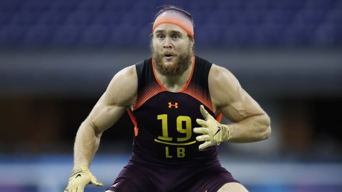 INDIANAPOLIS, IN - MARCH 03: Linebacker Porter Gustin of USC in action during day four of the NFL Combine at Lucas Oil Stadium on March 3, 2019 in Indianapolis, Indiana. (Photo by Joe Robbins/Getty Images)