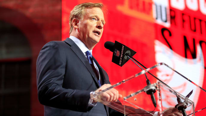 NASHVILLE, TENNESSEE - APRIL 25: NFL Commissioner Roger Goodell speaks during the first round of the 2019 NFL Draft on April 25, 2019 in Nashville, Tennessee. (Photo by Andy Lyons/Getty Images)