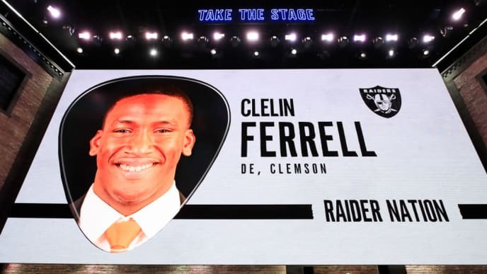 NASHVILLE, TENNESSEE - APRIL 25: A video board displays an image of Clelin Ferrell of Clemson after he was selected #4 overall by the Oakland Raiders during the first round of the 2019 NFL Draft on April 25, 2019 in Nashville, Tennessee. (Photo by Andy Lyons/Getty Images)