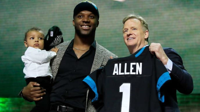 NASHVILLE, TENNESSEE - APRIL 25: Josh Allen of Kentucky poses with NFL Commissioner Roger Goodell after being chosen #7 overall by the Jacksonville Jaguars during the first round of the 2019 NFL Draft on April 25, 2019 in Nashville, Tennessee. (Photo by Andy Lyons/Getty Images)