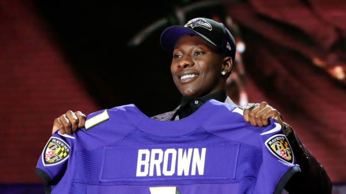 NASHVILLE, TENNESSEE - APRIL 25:  Marquise Brown of Oklahoma reacts after being chosen #25 overall by the Baltimore Ravens during the first round of the 2019 NFL Draft on April 25, 2019 in Nashville, Tennessee. (Photo by Andy Lyons/Getty Images)