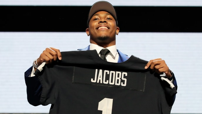 NASHVILLE, TENNESSEE - APRIL 25:  Josh Jacobs of Alabama reacts after being chosen #24 overall by the Oakland Raiders during the first round of the 2019 NFL Draft on April 25, 2019 in Nashville, Tennessee. (Photo by Andy Lyons/Getty Images)