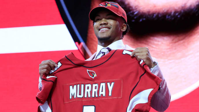 NASHVILLE, TENNESSEE - APRIL 25:  Kyler Murray Oklahoma reacts after he was picked #1 overall by the Arizona Cardinals during the first round of the 2019 NFL Draft on April 25, 2019 in Nashville, Tennessee. (Photo by Andy Lyons/Getty Images)