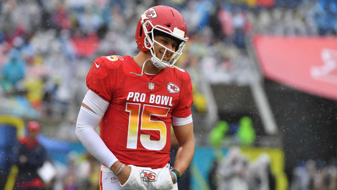 ORLANDO, FL - JANUARY 27:  Patrick Mahomes #15 of the Kansas City Chiefs during the 2019 NFL Pro Bowl at Camping World Stadium on January 27, 2019 in Orlando, Florida. (Photo by Mark Brown/Getty Images)