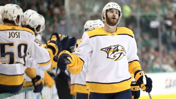 DALLAS, TEXAS - APRIL 22:  Austin Watson #51 of the Nashville Predators celebrates a goal against the Dallas Stars in the first period of Game Six of the Western Conference First Round during the 2019 Stanley Cup Playoffs at American Airlines Center on April 22, 2019 in Dallas, Texas. (Photo by Ronald Martinez/Getty Images)
