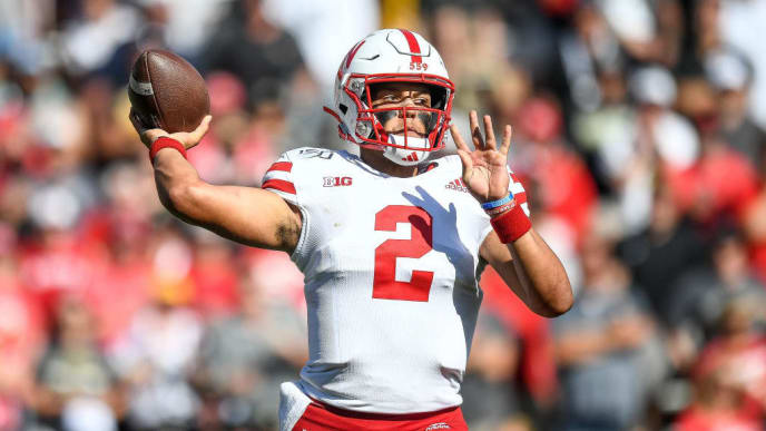 BOULDER, CO - SEPTEMBER 7:  Quarterback Adrian Martinez #2 of the Nebraska Cornhuskers passes against the Colorado Buffaloes in the fourth quarter of a game at Folsom Field on September 7, 2019 in Boulder, Colorado.  (Photo by Dustin Bradford/Getty Images)