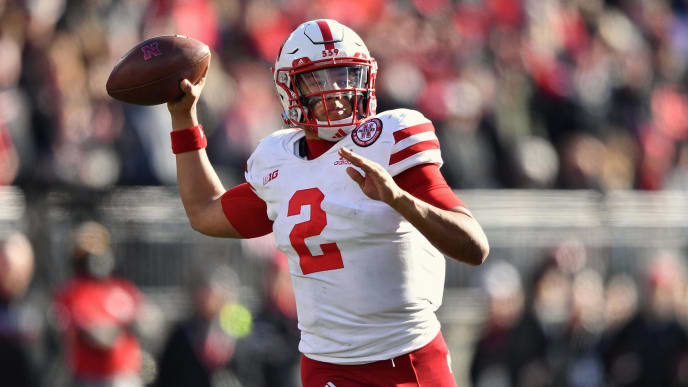 COLUMBUS, OH - NOVEMBER 3:  Quarterback Adrian Martinez #2 of the Nebraska Cornhuskers passes against the Ohio State Buckeyes at Ohio Stadium on November 3, 2018 in Columbus, Ohio.  (Photo by Jamie Sabau/Getty Images)
