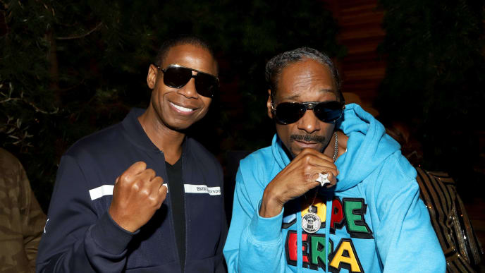 "LOS ANGELES, CALIFORNIA - SEPTEMBER 28: (L-R) Doug E. Fresh and Snoop Dogg attend the ""Dolemite Is My Name"" premiere presented by Netflix on September 28, 2019 in Los Angeles, California. (Photo by Arnold Turner/Getty Images for Netflix)"