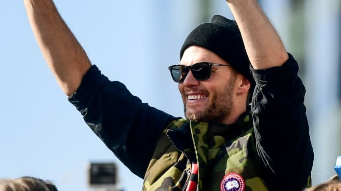 BOSTON, MASSACHUSETTS - FEBRUARY 05: Tom Brady #12 of the New England Patriots reacts during the Super Bowl Victory Parade on February 05, 2019 in Boston, Massachusetts. (Photo by Billie Weiss/Getty Images)