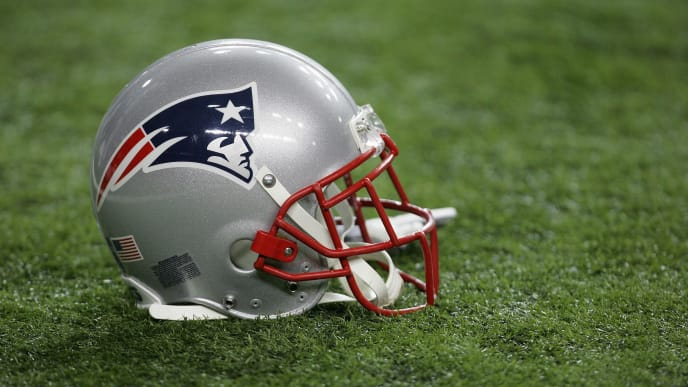 ATLANTA - AUGUST 11:  A detailed view of a New England Patriots helmet prior to the NFL preseason game between the New England Patriots and the Atlanta Falcons on August 11, 2006 at the Georgia Dome in Atlanta, Georgia.  (Photo By Streeter Lecka)