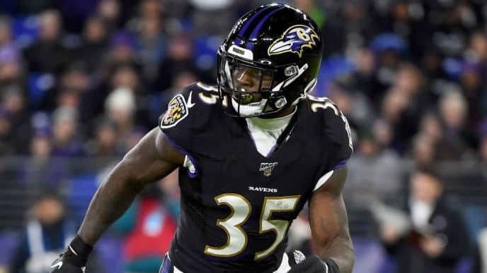 BALTIMORE, MD - NOVEMBER 03: Gus Edwards #35 of the Baltimore Ravens runs during the game against the New England Patriots at M&T Bank Stadium on November 3, 2019 in Baltimore, Maryland. (Photo by Will Newton/Getty Images)