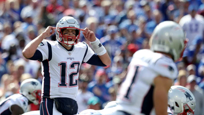 ORCHARD PARK, NEW YORK - SEPTEMBER 29: Tom Brady #12 of the New England Patriots signals during the second quarter of a game against the Buffalo Bills at New Era Field on September 29, 2019 in Orchard Park, New York. (Photo by Bryan M. Bennett/Getty Images)