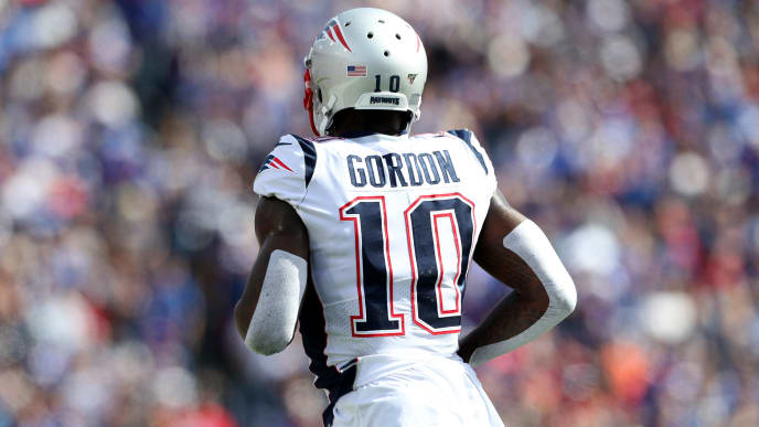 ORCHARD PARK, NEW YORK - SEPTEMBER 29: Josh Gordon #10 of the New England Patriots runs off the field during the second quarter of a game against the Buffalo Bills at New Era Field on September 29, 2019 in Orchard Park, New York. (Photo by Bryan M. Bennett/Getty Images)