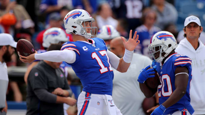 BUFFALO, NEW YORK - SEPTEMBER 29: Josh Allen #17 of the Buffalo Bills warms up prior to the game against the New England Patriots at New Era Field on September 29, 2019 in Buffalo, New York. (Photo by Brett Carlsen/Getty Images)