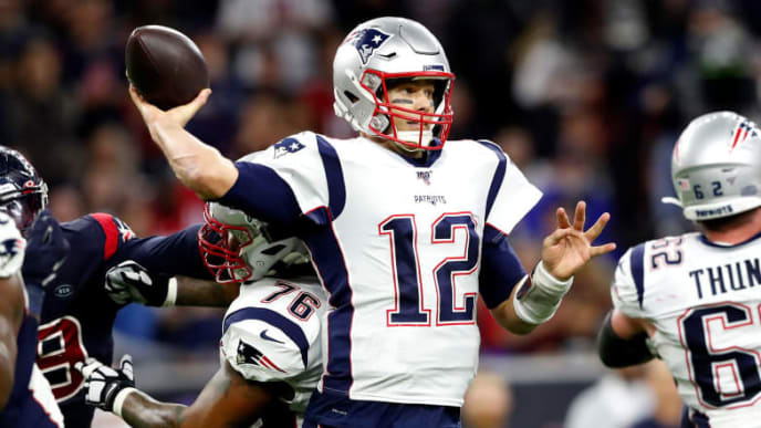 Tom Brady tosses pass against Houston Texans in Week 13.