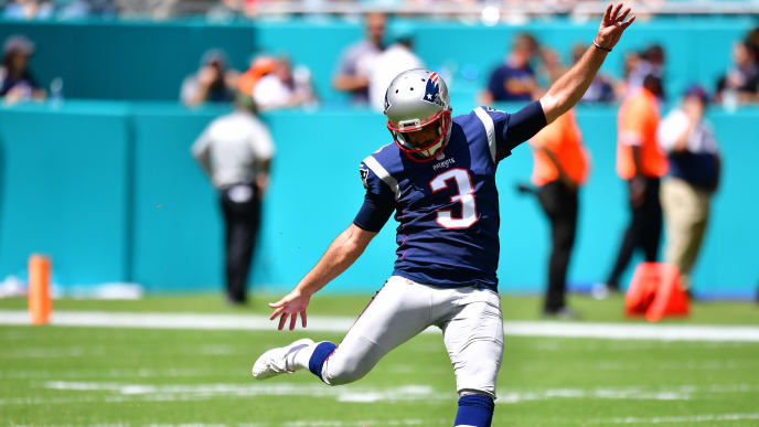 MIAMI, FLORIDA - SEPTEMBER 15: Stephen Gostkowski #3 of the New England Patriots in action against the Miami Dolphins at Hard Rock Stadium on September 15, 2019 in Miami, Florida. (Photo by Mark Brown/Getty Images)
