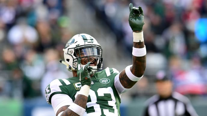 EAST RUTHERFORD, NEW JERSEY - NOVEMBER 25: Jamal Adams #33 of the New York Jets reacts to a penalty call against the New England Patriots during the first half at MetLife Stadium on November 25, 2018 in East Rutherford, New Jersey. (Photo by Sarah Stier/Getty Images)