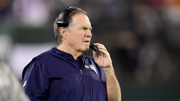 EAST RUTHERFORD, NEW JERSEY - OCTOBER 21:  Head coach Bill Belichick of the New England Patriots looks on against the New York Jets at MetLife Stadium on October 21, 2019 in East Rutherford, New Jersey. (Photo by Steven Ryan/Getty Images)