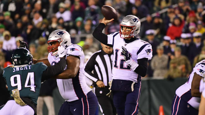 PHILADELPHIA, PA - NOVEMBER 17: Tom Brady #12 of the New England Patriots looks to pass during the third quarter at Lincoln Financial Field on November 17, 2019 in Philadelphia, Pennsylvania. The Patriots defeated the Eagles 17-10. (Photo by Corey Perrine/Getty Images)
