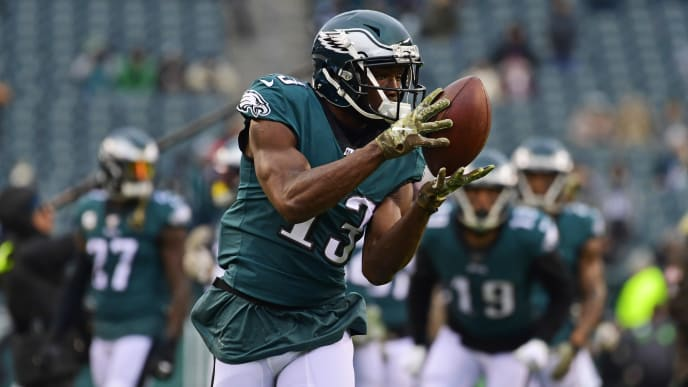 PHILADELPHIA, PA - NOVEMBER 17: Nelson Agholor #13 of the Philadelphia Eagles warms up before the game against the New England Patriots at Lincoln Financial Field on November 17, 2019 in Philadelphia, Pennsylvania. (Photo by Corey Perrine/Getty Images)