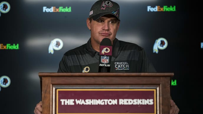 LANDOVER, MD - OCTOBER 06: Head coach Jay Gruden of the Washington Redskins responds to questions during a press conference after the game against the New England Patriots at FedExField on October 6, 2019 in Landover, Maryland. (Photo by Scott Taetsch/Getty Images)