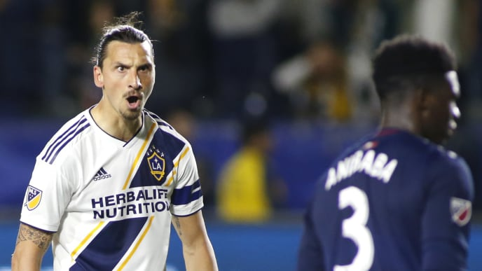 CARSON, CALIFORNIA - JUNE 02:   Zlatan Ibrahimovic #9 of Los Angeles Galaxy reacts after scoring a game during the second half of a game against the New England Revolution at Dignity Health Sports Park on June 02, 2019 in Carson, California. (Photo by Katharine Lotze/Getty Images)