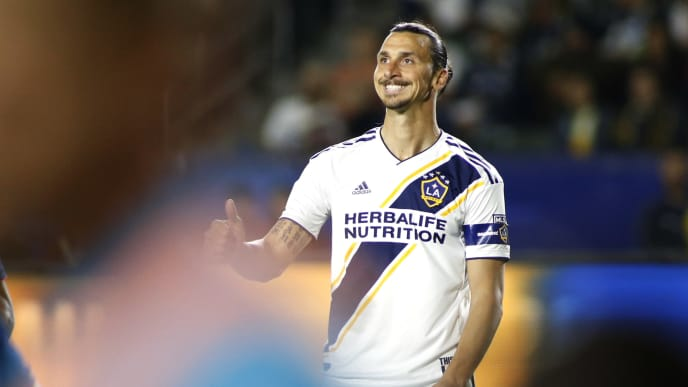 CARSON, CALIFORNIA - JUNE 02:   Zlatan Ibrahimovic #9 of Los Angeles Galaxy reacts after a play during the second half of a game against the New England Revolution at Dignity Health Sports Park on June 02, 2019 in Carson, California. (Photo by Katharine Lotze/Getty Images)