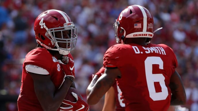 TUSCALOOSA, ALABAMA - SEPTEMBER 07:  Jerry Jeudy #4 of the Alabama Crimson Tide reacts after his second touchdown reception against the New Mexico State Aggies with DeVonta Smith #6 at Bryant-Denny Stadium on September 07, 2019 in Tuscaloosa, Alabama. (Photo by Kevin C. Cox/Getty Images)