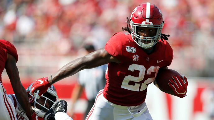 TUSCALOOSA, ALABAMA - SEPTEMBER 07:  Najee Harris #22 of the Alabama Crimson Tide rushes against the New Mexico State Aggies at Bryant-Denny Stadium on September 07, 2019 in Tuscaloosa, Alabama. (Photo by Kevin C. Cox/Getty Images)