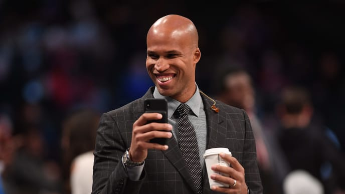 NEW YORK, NEW YORK - NOVEMBER 04: Richard Jefferson of the Brooklyn Nets  before the game against the New Orleans Pelicans at Barclays Center on November 04, 2019 in New York City. NOTE TO USER: User expressly acknowledges and agrees that, by downloading and or using this photograph, User is consenting to the terms and conditions of the Getty Images License Agreement. (Photo by Matteo Marchi/Getty Images)