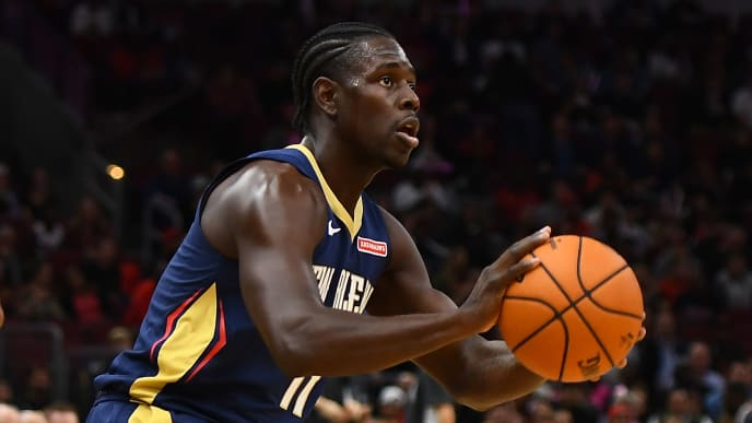 CHICAGO, ILLINOIS - OCTOBER 09:  Jrue Holiday #11 of the New Orleans Pelicans takes a shot during a preseason game against the Chicago Bulls at the United Center on October 09, 2019 in Chicago, Illinois. NOTE TO USER: User expressly acknowledges and agrees that, by downloading and or using this photograph, User is consenting to the terms and conditions of the Getty Images License Agreement. (Photo by Stacy Revere/Getty Images)