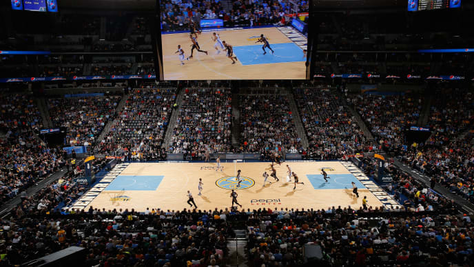 DENVER, CO - NOVEMBER 21:  A general view of the arena as the New Orleans Pelicans face the Denver Nuggets at Pepsi Center on November 21, 2014 in Denver, Colorado. The Nuggets defeated the Pelicans 117-97. NOTE TO USER: User expressly acknowledges and agrees that, by downloading and or using this photograph, User is consenting to the terms and conditions of the Getty Images License Agreement.  (Photo by Doug Pensinger/Getty Images)