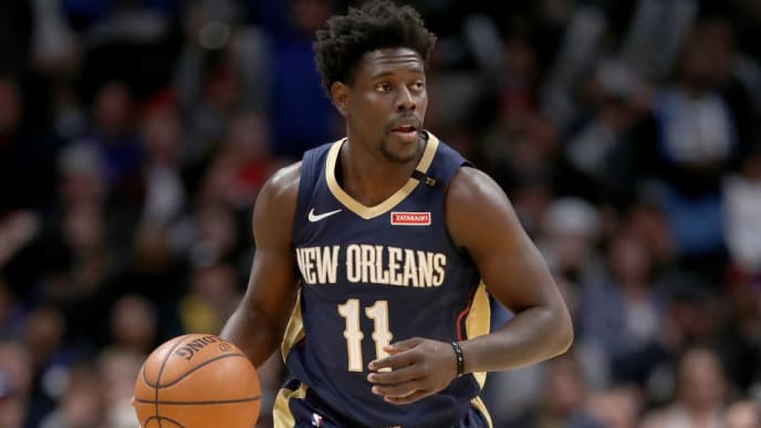 DENVER, COLORADO - MARCH 02: Jrue Holiday #11 of the New Orleans Pelicans plays the Denver Nuggets at the Pepsi Center on March 02, 2019 in Denver, Colorado. NOTE TO USER: User expressly acknowledges and agrees that, by downloading and or using this photograph, User is consenting to the terms and conditions of the Getty Images License Agreement. (Photo by Matthew Stockman/Getty Images)