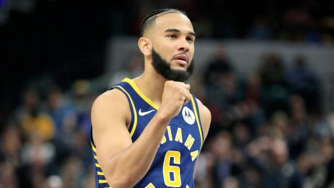 INDIANAPOLIS, INDIANA - FEBRUARY 22:  Cory Joseph #6 of the Indiana Pacers celebrates in the game against the New Orleans Pelicans at Bankers Life Fieldhouse on February 22, 2019 in Indianapolis, Indiana. (Photo by Andy Lyons/Getty Images)