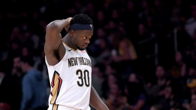 LOS ANGELES, CALIFORNIA - DECEMBER 21:  Julius Randle #30 of the New Orleans Pelicans reacts after a Pelican foul during a 112-104 Laker win at Staples Center on December 21, 2018 in Los Angeles, California.  NOTE TO USER: User expressly acknowledges and agrees that, by downloading and or using this photograph, User is consenting to the terms and conditions of the Getty Images License Agreement. (Photo by Harry How/Getty Images)