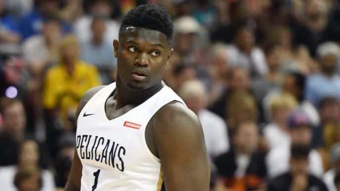 LAS VEGAS, NEVADA - JULY 05:  Zion Williamson #1 of the New Orleans Pelicans walks on the court during a game against the New York Knicks during the 2019 NBA Summer League at the Thomas & Mack Center on July 5, 2019 in Las Vegas, Nevada. NOTE TO USER: User expressly acknowledges and agrees that, by downloading and or using this photograph, User is consenting to the terms and conditions of the Getty Images License Agreement.  (Photo by Ethan Miller/Getty Images)
