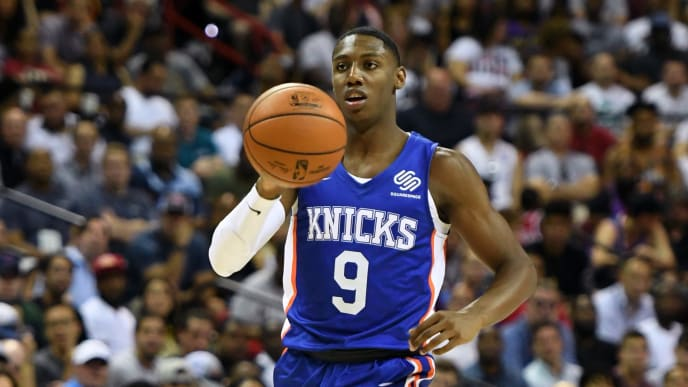 LAS VEGAS, NEVADA - JULY 05:  RJ Barrett #9 of the New York Knicks brings the ball up the court against the New Orleans Pelican during the 2019 NBA Summer League at the Thomas & Mack Center on July 5, 2019 in Las Vegas, Nevada. NOTE TO USER: User expressly acknowledges and agrees that, by downloading and or using this photograph, User is consenting to the terms and conditions of the Getty Images License Agreement.  (Photo by Ethan Miller/Getty Images)