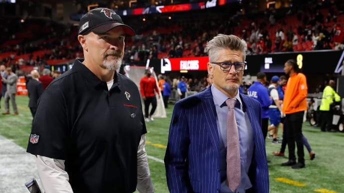 ATLANTA, GEORGIA - NOVEMBER 28:  Head coach Dan Quinn and general manager Thomas Dimitroff of the Atlanta Falcons walk off the field after their 26-18 loss to the New Orleans Saints at Mercedes-Benz Stadium on November 28, 2019 in Atlanta, Georgia. (Photo by Kevin C. Cox/Getty Images)