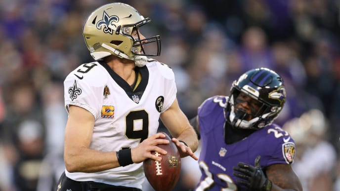 Drew Brees prepares to throw a pass in a recent game against the Ravens.