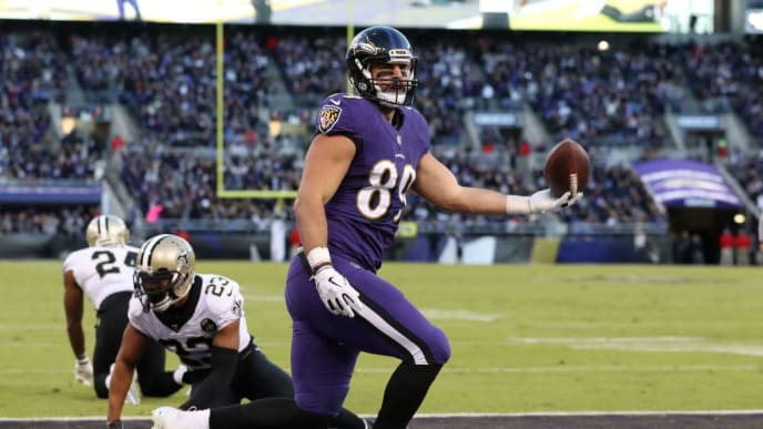 BALTIMORE, MD - OCTOBER 21:  Tight End Mark Andrews #89 of the Baltimore Ravens celebrates after catching a touchdown in the third quarter against the New Orleans Saints at M&T Bank Stadium on October 21, 2018 in Baltimore, Maryland. (Photo by Rob Carr/Getty Images)