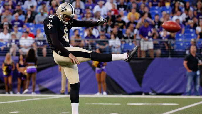 BALTIMORE, MD - AUGUST 13:  Punter  Thomas Morstead #6 of the New Orleans Saints kicks the ball against the Baltimore Ravens during a preseason game at M&T Bank Stadium on August 13, 2015 in Baltimore, Maryland.  (Photo by Rob Carr/Getty Images)