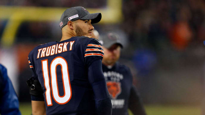 CHICAGO, ILLINOIS - OCTOBER 20: Mitchell Trubisky #10 of the Chicago Bears glances at the video board during the fourth quarter against the New Orleans Saints at Soldier Field on October 20, 2019 in Chicago, Illinois. (Photo by Nuccio DiNuzzo/Getty Images)