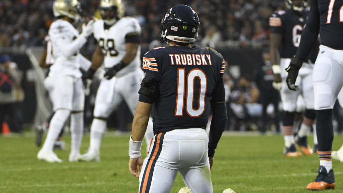 CHICAGO, ILLINOIS - OCTOBER 20: Mitchell Trubisky #10 of the Chicago Bears on the field after being hurried by the New Orleans Saints during the second half at Soldier Field on October 20, 2019 in Chicago, Illinois. The New Orleans Saints defeated the Chicago Bears 36-25. (Photo by David Banks/Getty Images)