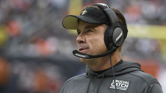 CHICAGO, ILLINOIS - OCTOBER 20: Head coach Sean Payton of the New Orleans Saints on the sidelines in a game against the Chicago Bears during the first quarter at Soldier Field on October 20, 2019 in Chicago, Illinois. (Photo by David Banks/Getty Images)