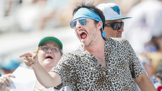 JACKSONVILLE, FLORIDA - OCTOBER 13: A Jacksonville Jaguars dressed like Gardner Minshew reacts during the first quarter of a game New Orleans Saints at TIAA Bank Field on October 13, 2019 in Jacksonville, Florida. (Photo by James Gilbert/Getty Images)