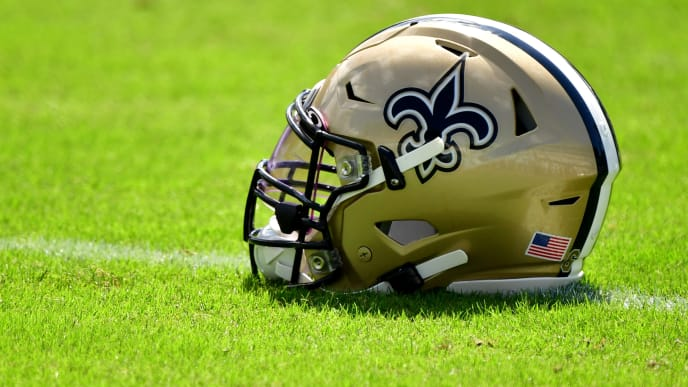 JACKSONVILLE, FLORIDA - OCTOBER 13: A New Orleans Saints helmet is seen on the field before the game between the New Orleans Saints and the Jacksonville Jaguars at TIAA Bank Field on October 13, 2019 in Jacksonville, Florida. (Photo by Julio Aguilar/Getty Images)